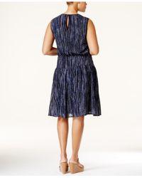 Michael Kors - Blue Michael Sleeveless Printed A-line Dress - Lyst