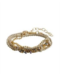 Sogoli - Metallic Gold Braided Chain And Fabric Beaded Bracelet - Lyst