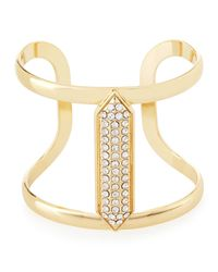 Lydell NYC - Metallic Crystal-studded Golden Cuff Bracelet - Lyst