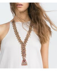 Zara | Metallic Long Colorful Stone Necklace | Lyst