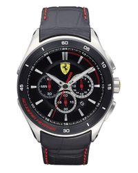 Scuderia Ferrari - Black 'gran Premio' Chronograph Leather Strap Watch for Men - Lyst