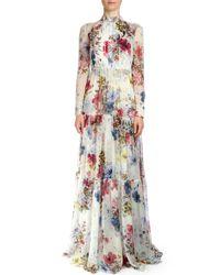 Erdem - Multicolor Denise Floral-print Silk Voile Gown - Lyst