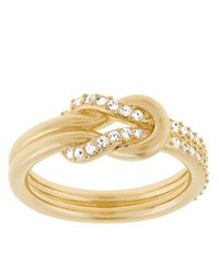 Swarovski | Metallic Voile Goldtone And Crystal Knot Ring | Lyst