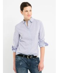 Mango - Blue Striped Shirt - Lyst