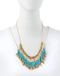 Panacea - Blue Fringe Beaded Bib Necklace Turquoisewhitegolden - Lyst