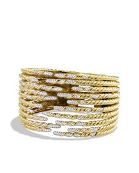 David Yurman - Metallic Willow Ten-row Bracelet With Diamonds In Gold - Lyst