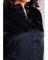 Missguided - Black Plus Size Silk Shirt Dress Navy - Lyst