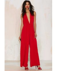 Glamorous | Red Shalamar Halter Jumpsuit | Lyst