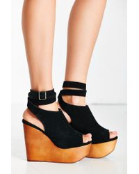 Jeffrey Campbell | Black Ankle Wrap Wood Wedge | Lyst
