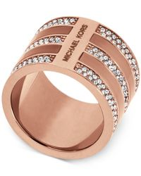 Michael Kors | Pink Rose Gold-tone & Crystal Accented Barrel Ring | Lyst