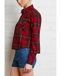 Forever 21   Green Boxy Plaid Flannel Shirt You've Been Added To The Waitlist   Lyst