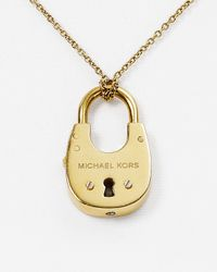 "Michael Kors - Metallic Padlock Pendant Necklace, 16"" - Lyst"