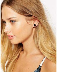 ASOS - Black Multiway Double Stud Earring - Lyst