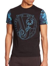 Versace Jeans - Black Printed-sleeve Logo Tee for Men - Lyst