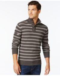 Tommy Hilfiger | Brown Porto Stripe Mock-collar Sweater for Men | Lyst