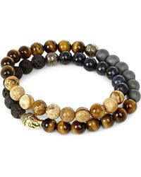 Nialaya - Multicolor 18ct Gold-plated Sterling Silver, Hematite, Lava Stone, Jasper And Coral Blue Bracelet - Lyst