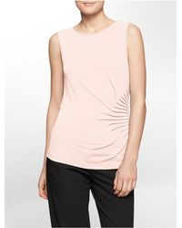 Calvin Klein | Pink White Label Side Ruched Sleeveless Top | Lyst
