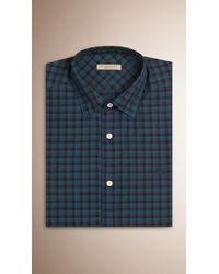 Burberry - Gingham Cotton Shirt Mineral Blue for Men - Lyst