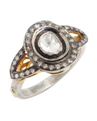 Amrapali - Metallic Diamond And Gold 'Color Stone' Halo Ring - Lyst