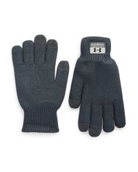 Under Armour | Blue Knit Fuse Gloves for Men | Lyst