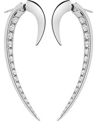 Shaun Leane | Metallic Signature 18ct White-gold And Diamond Hook Earrings | Lyst