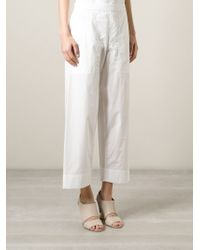 Lemaire - White Cropped Wide Leg Trousers - Lyst