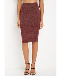 Forever 21 | Red Contemporary Metallic Knit Sweater Skirt | Lyst
