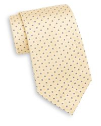 Saks Fifth Avenue - Yellow Neat Cross & Square Silk Tie for Men - Lyst