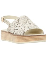 Dune | Natural Lonzo Reptile Effect Leather Flatform Slingback Sandals | Lyst