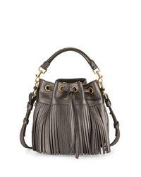 Saint Laurent - Emmanuelle Fringe Metallic Small Bucket Bag - Lyst