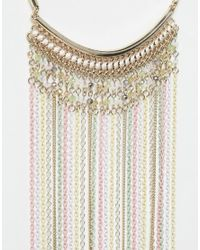Lipsy | Metallic Colored Chain Tassel Collar Necklace | Lyst