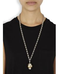 Alexander McQueen | Metallic Silver Plated Puzzle Skull Necklace | Lyst