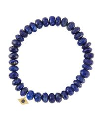 Sydney Evan | Blue 8mm Faceted Lapis Beaded Bracelet With 14k Yellow Gold/diamond Small Evil Eye Charm (made To Order) | Lyst
