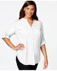 Calvin Klein | White Plus Size Mixed-media Utility Shirt | Lyst