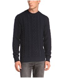 BOSS Orange - Blue 'kaas' | Wool Cotton Cable Knit Sweater for Men - Lyst