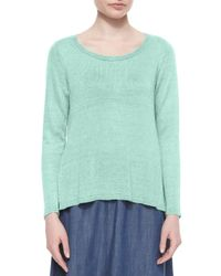 Eileen Fisher | Green Long-sleeve Linen Delave Box Top | Lyst