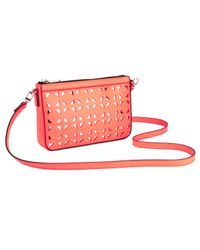 MILLY - Orange Palmetto Perforated Leather Small Cross Body Bag - Lyst