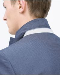 Zara | Blue Blazer With Elbow Patches for Men | Lyst