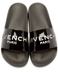 Givenchy - Black Patent Cut-out Slide Sandals - Lyst