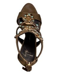 Giuseppe Zanotti | Metallic Suede Sandals With Embellished Front In Military - Brown | Lyst