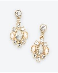 Ann Taylor | Metallic Champagne Pearlized Stone Drop Earrings | Lyst