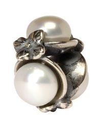 Trollbeads | White Triple Pearl Silver Bead | Lyst