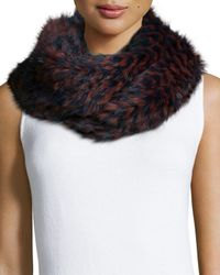 Pologeorgis | Multicolor Knitted Rabbit Fur Check Infinity Scarf | Lyst