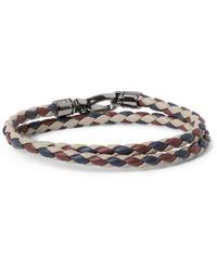 Tod's - Purple Woven-Leather Wrap Bracelet for Men - Lyst