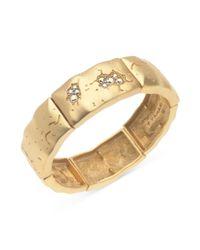 T Tahari - Metallic Goldtone Aurora Borealis Crystal Stretch Bracelet - Lyst