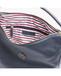 Tommy Hilfiger - Blue Pebbled Leather Hobo - Lyst