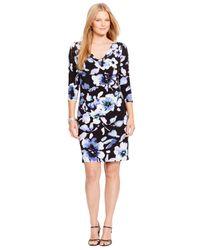 Lauren by Ralph Lauren - Multicolor Plus Size Floral-Print Cowl-Neck Dress - Lyst