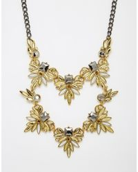 Little Mistress | Metallic Statement Double Row Necklace | Lyst