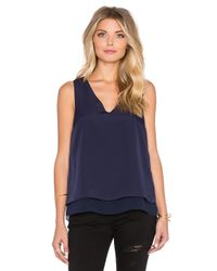 1.STATE | Blue Short Sleeve Double Layer Tank With Chiffon | Lyst