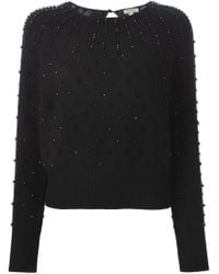 P.A.R.O.S.H. - Black Beaded Crew Neck Sweater - Lyst